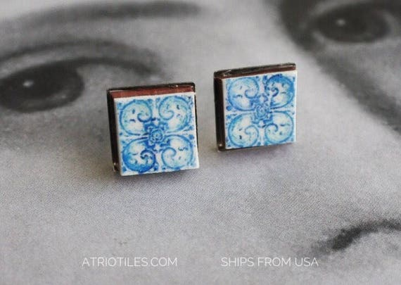 STUD Earrings Portugal Tile Stainless Steel Antique Azulejo - University of Évora founded in 1559 - Hypo allergenic - Gift boxed - 700