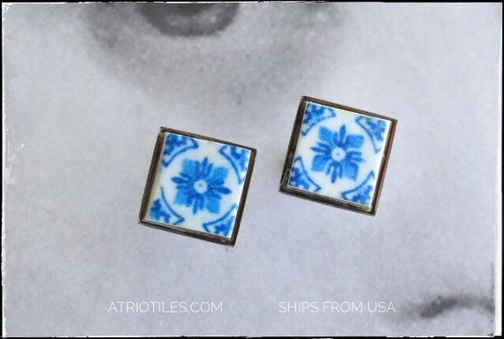 Earrings STUD Portugal Blue Tile Azulejos Post Blue Igreja de Sao Nicolau, 1671  (see photos of church) Stainless Steel Gift Boxed 493