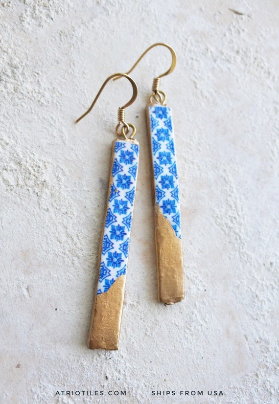 Earrings Portugal Tile Atrio Matchstick Blue Azulejos dipped in Gold leaf  Igreja de Sao Nicolau, 1671 Surgical Steel Free USA Shipping