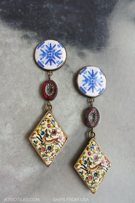 Earrings COIMBRA Portugal 17th Century Pottery STUD Post DeeR  Ceramicas de Coimbra Tile Azulejo Czech Glass beads - Ships from USA