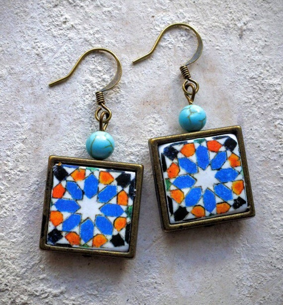 Talavera Spanish ARISTA Tile Replica FRAMED EARRINGS - Iberian Peninsula Antique 15th century 772F