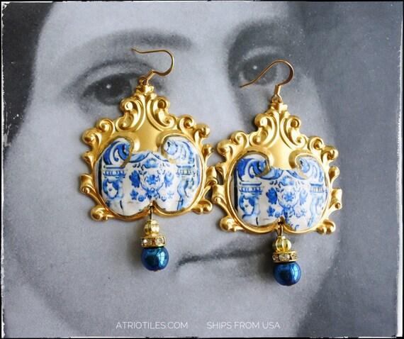 Earrings Portugal Tile Azulejos BAROQUE - Quinta da Bacalhôa Azeitão  24k gold tone Cherubs Mural Blue Gift Box Included - Ships from USA