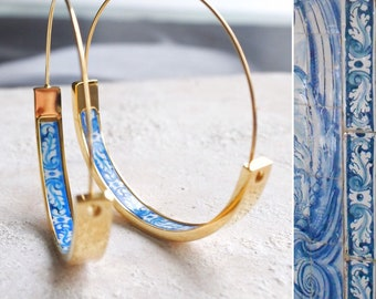 "Hoops Earrings Hoop Atrio Tile Blue Portugal  STAINLESS STEEL Azulejo University of Evora  Delicate 1.5"" Ships from USA Gold Tone"