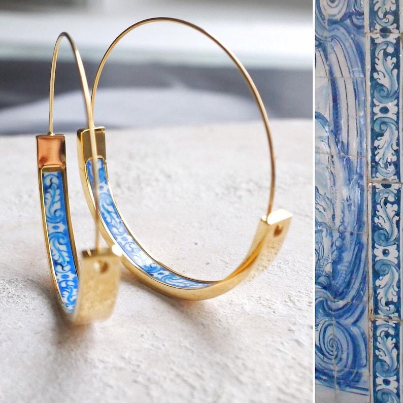 Hoops Earrings Hoop Atrio Tile Blue Portugal  STAINLESS STEEL image 0