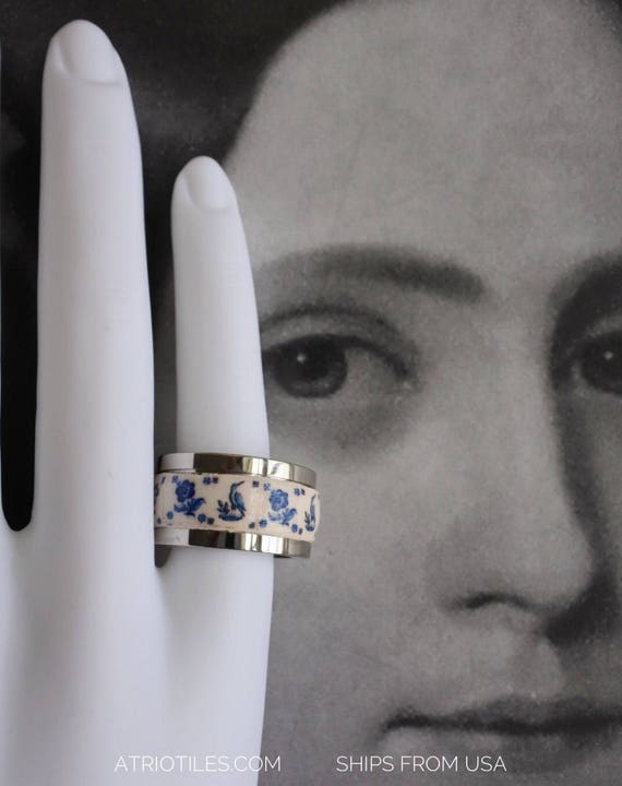 Tile Ring Portugal Azulejo Delft  STAINLESS STEEL Ring  - 1837 Delft Blue US size 5
