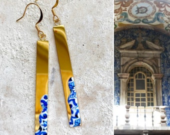 Atrio Earrings Bar Dipped Tiles Óbidos  Majolica Stainless Steel Hypoallergenic Minimal Ships from USA