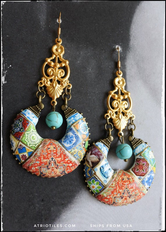 Earrings Chandelier Persian Tile Portugal Azulejo Bohemian Persian Boho Tribal Gypsy Ethnic Steel Featured in Marie Claire FREE USA Shipping