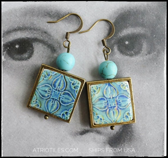 Turquoise Earrings Portugal Tile Atrio Antique Azulejo FRAMED  Caldas da Rainha - Green Teal- Persian Relief Tiles Gift Boxed 889