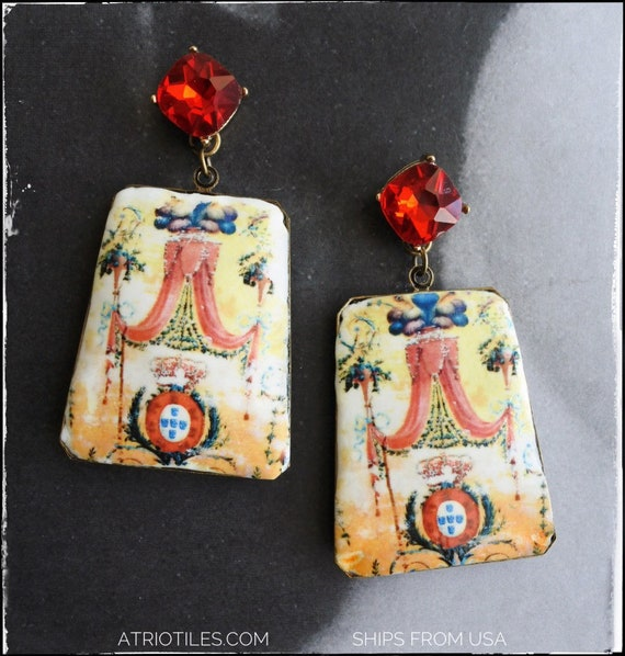 Earrings Royalty Portugal  Pompeian 1767 Antique Frescoes from a royal Carriage  Palace of Queluz,  Neoclassic Versailles Renaissance Tuscan