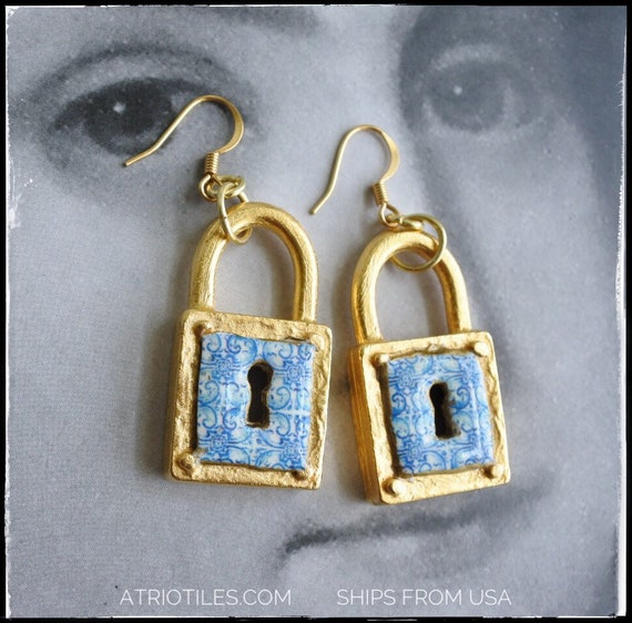 Lock Earrings Portugal  Antique Azulejo Tile Padlock - University of Évora founded in 1559 - Historic! 24k gold tone Surgical Steel Ear wire