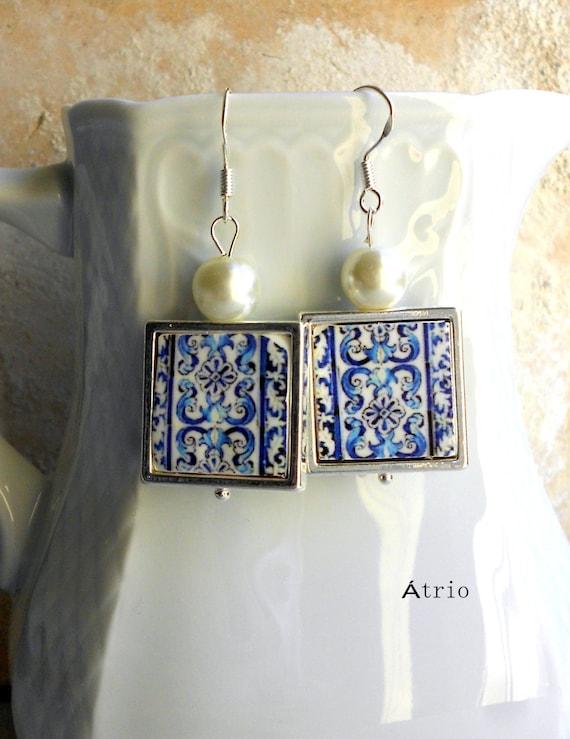 Portugal Earrings Blue Atrio Tile Azulejo Tile 925 SILVER FRAMED Earrings AvEIRO Santa Joana Convent 1458 -Waterproof and Reversible 543