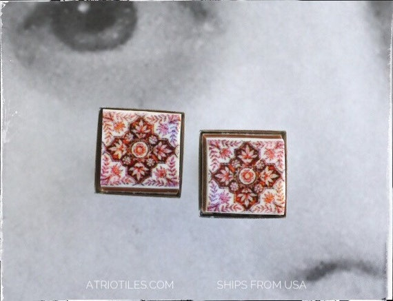 Stud Earrings Red Tile Post Portugal Antique Azulejo - Ovar Delft Hypo allergenic Stainless Steel  Gift Box Included Free USA Shipping  1731