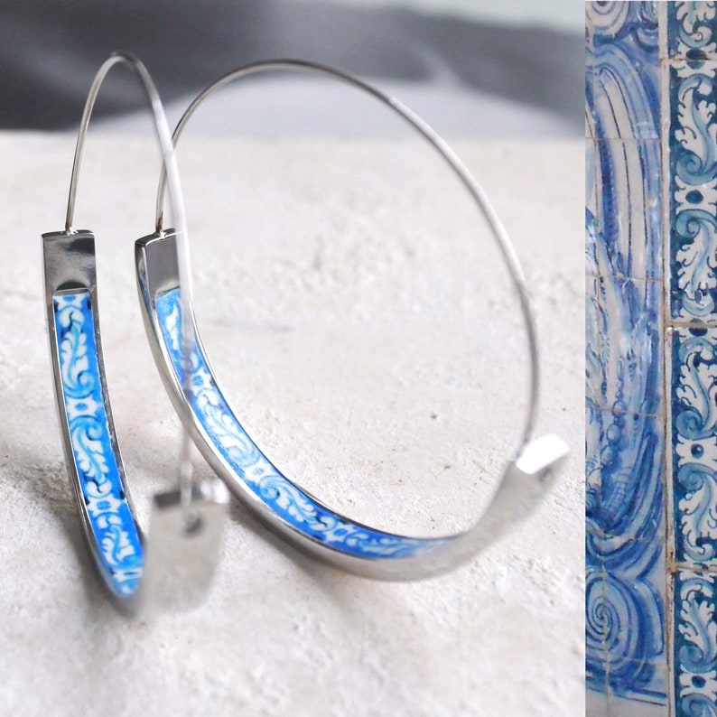 Atrio Hoop Earrings with Blue Tile Center  Stainless Steel image 0