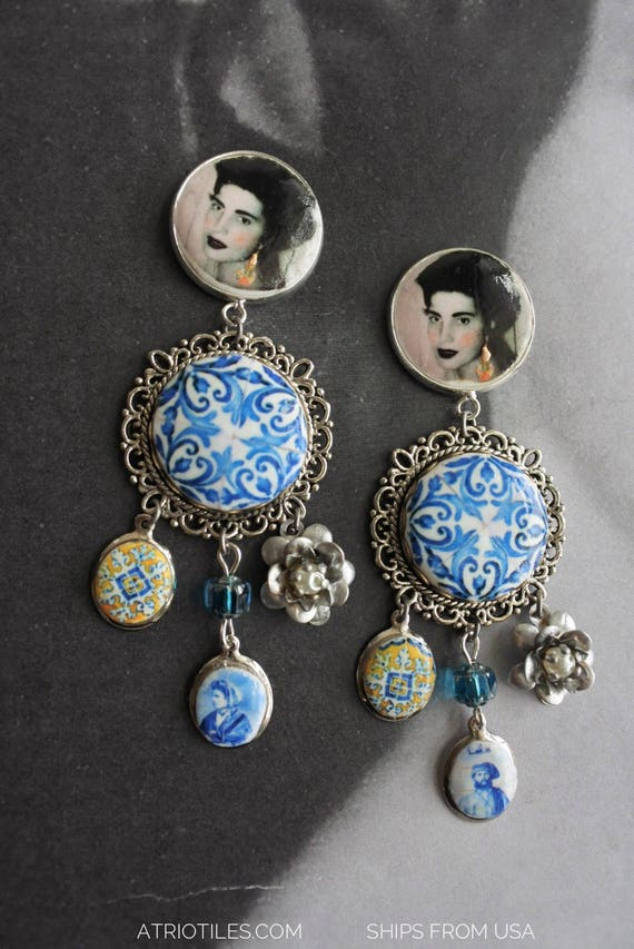 Amália Portugal Earrings Fado Azulejo Tile - Church of Mercy PoRTO 1590 Majolica Baroque - Queen of Fado Portuguese Post Stud