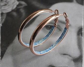 "HOOP Earrings Portugal Tile STAINLESS STEEL Atrio Antique Azulejo Tile University of Evora  - 2"" Rose Gold Tone"