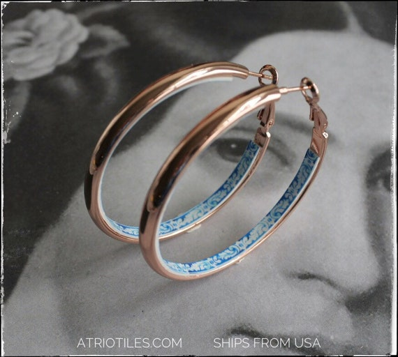 "HOOP Earrings Portugal Tile Stainless Steel Atrio Antique Azulejo Tile University of Evora  - 2"" Rose Gold Tone FREE  USA Shipping"