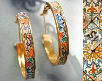 """HOOP Earrings ATRIO Portugal Tile Antique Azulejo Pinterest CoIMBRA 1590 -  Stainless Steel 1.25"""" Gift Box Included - Ships from USA"""