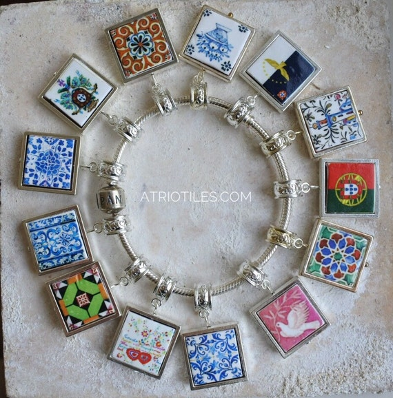 "Portugal Antique Azulejo Tile SILVER Plated Pendant for EUROPEAN ""PAN.."" Brand Bracelet - Coimbra Sweetheart Azores - Choose One - Gift Box"