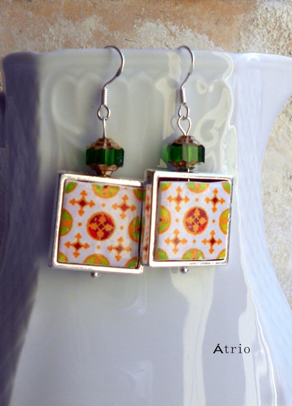 Silver Earrings Tile Portugal Antique Replica FRAMED OVaR and Espinho  (see photos) Waterproof and Reversible Gift Boxed Ships from USA 593