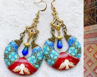 Earrings Chandelier Portugal Antique Azulejo Tile Portuguese  Dove Frescoes  Sintra Palace Chapel - Maximalism  Bohemian Atrio  USA Shipping