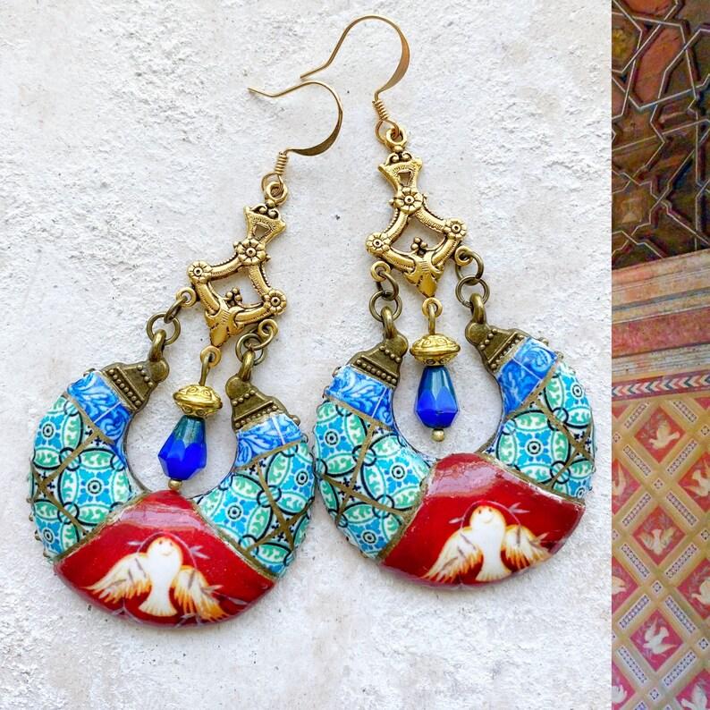 Earrings Chandelier Portugal Antique Azulejo Tile Portuguese image 1