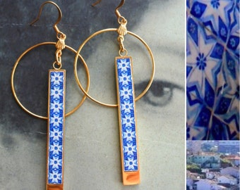 Earrings Tile CIRCLE BAR Atrio Portugal Blue Azulejo Antique Porto Lightweight Stainless Steel Ships from USA 2 Options