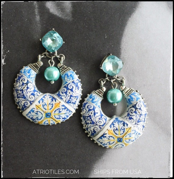 Atrio Earrings Tile Portugal Blue Antique Azulejo - Nazaré Chapel of Memory and Evora 17th Century with Cubic Zirconia posts - Chandelier