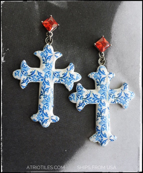 Cross Earrings Atrio Tile Portugal Antique Azulejo - Church of Mercy PoRTO 1590 Majolica Baroque - Red Cubic Zirconia Posts