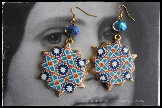 Earrings Tile Arab Hispanic Portuguese Portugal 16th Century Azulejo Arista Persian Santa Clara in Coimbra, 1314 Star