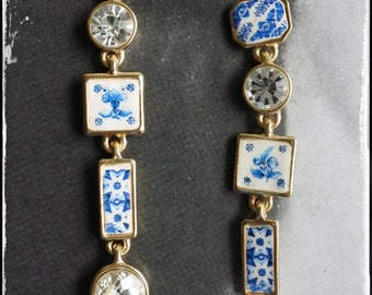 """Earrings Majolica Portugal Tile Azulejo LONG Rhinestone   - Tomar Convent of Christ -  Posts Studs  - Romantic 3"""" Wedding Party Delft"""