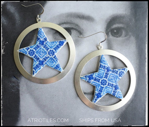"""Hoop Earrings STAR  Blue Tile Portugal Antique Azulejo  - Ovar (see photo)  - Gift Box Included - 2 1/4"""" 925 Silver Ear Wire Texas"""