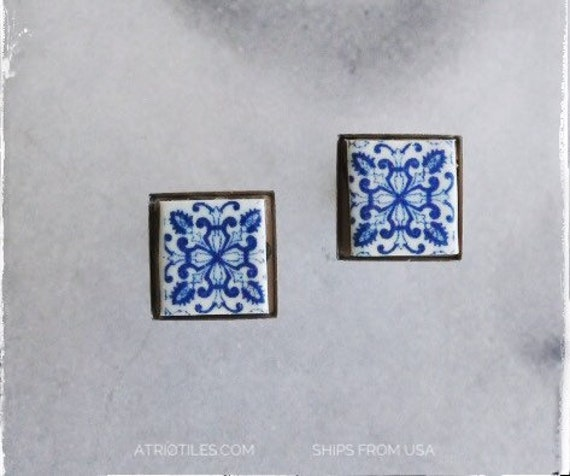 STUD Earrings Portugal Tile Antique Aveiro  Espiga  Ships from USA - Blue Stainless Steel Post - Gift box Included 1747