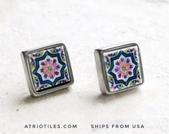STUD Earrings Portugal Tile Azulejo Tile SOLID Stainless Steel Posts Hypo allergenic OVAR, Ourivesaria Carvalho  Gift Boxed  651a