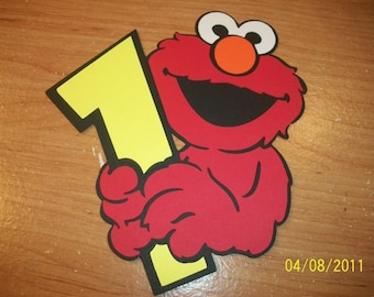 Elmo holding a number one