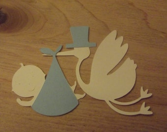 Stork and baby diecut
