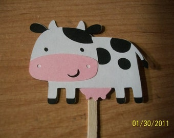 Cow cupcake toppers- set of 24
