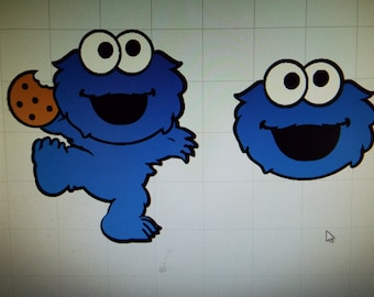 Baby Cookie Monster full body and head