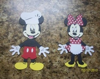 Chef Mickey Mouse and Baker Minnie Mouse diecuts