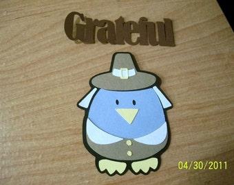 Pilgrim birdie die cut with grateful title