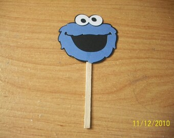 Cookie Monster cupcake toppers- lot of 12- sesame street