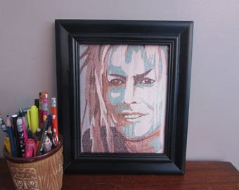 David Bowie as Jareth from Labyrinth (Grin) Word Art Print-Look Close, Made from Text!