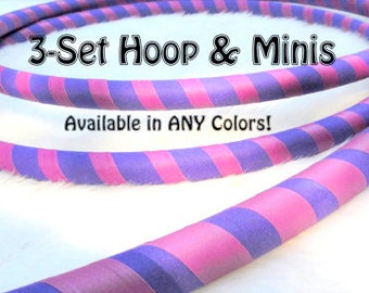 3-PACK 'ULTRAGRIP' Hula Hoop & Mini Twins Set - Ultra Grippy Beginner Hoops Made YOUR Sizes. Choose Any Colors in Notes at Checkout.