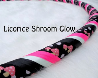 "NeW for 2016! ""Licorice Shroom GLOW"" Custom Fabric Hula Hoop - Made YOUR Size & Tubing Weight!"