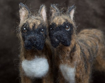 Needle Felted Boxer Dog, Wool Pet Portrait