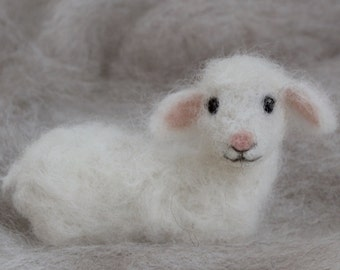Needle Felted Lamb, Wool Baby Sheep, Nativity