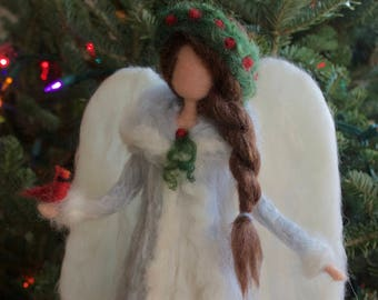 Angel Tree Topper Needle Felt Large with Bird