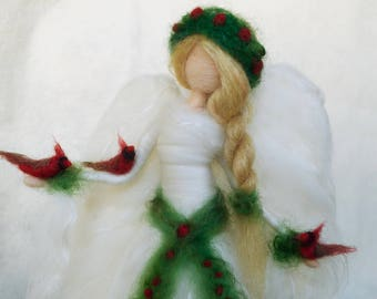 Angel Tree Topper with Red Cardinals, Needle Felt Christmas Memorial