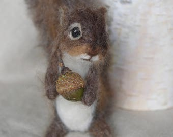 Needle Felted Squirrel Miniature Baby