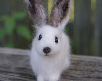 Needle Felted Arctic Hare Bunny Rabbit White