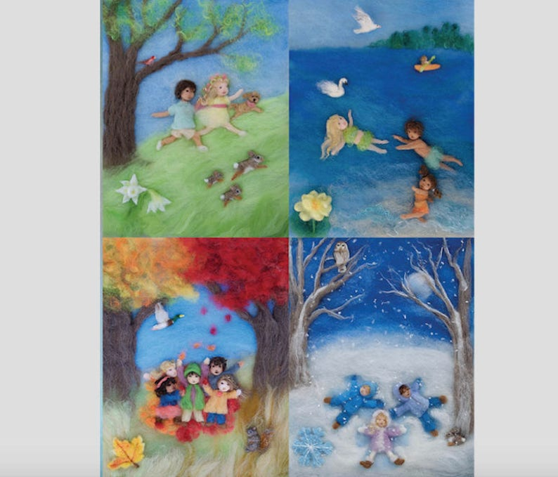 Seasons of Joy Wool Painting Photo Print of Picture Book image 0